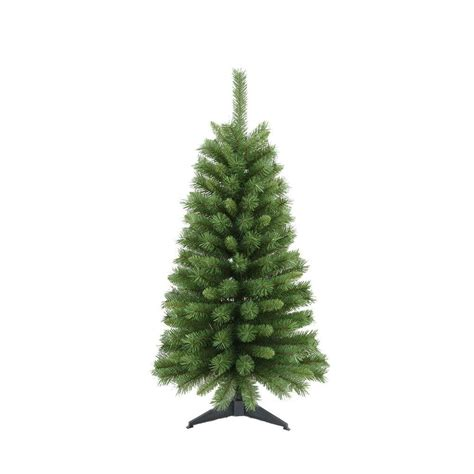 santa s workshop 4 ft canadian pine artificial christmas tree with base 15932 the home depot