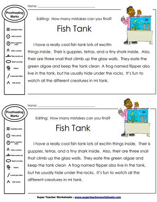 Printable Editing Worksheets Grammar, Spelling, Punctuation, Capitalization