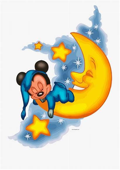 Mickey Mouse Clipart Sleeping Night Morning Evening