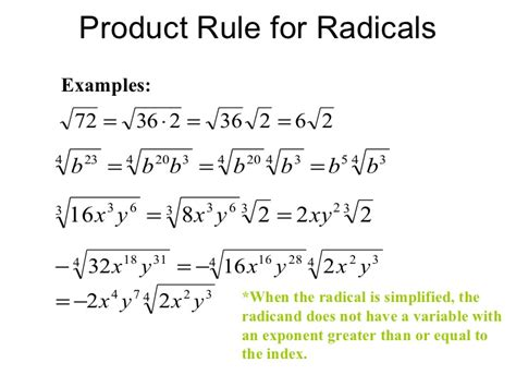 simplifying radicals with variables and exponents