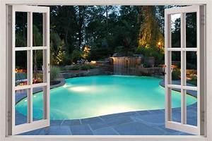 swimming pool 3d window view decal wall sticker home decor With window wall decal
