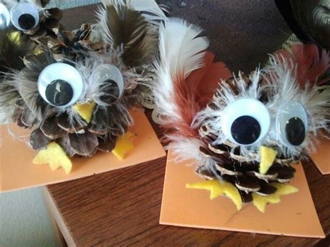 pinecone owl craft feathers felt big googly eyes