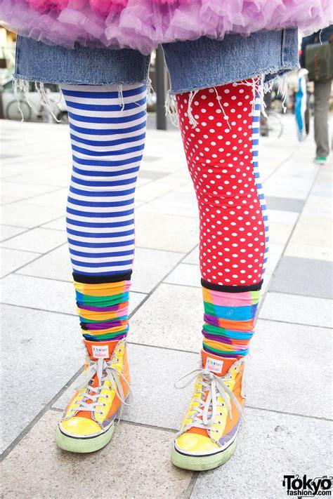colorful mismatched tights  harajuku tokyo fashion news