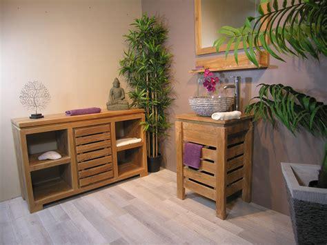 meuble zen salle de bain en teck 50 cm bona reva