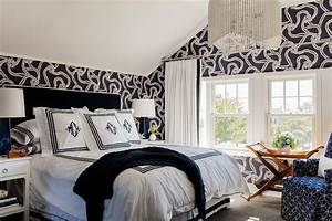 White and Black Bedroom with Cole and Son Rope Wallpaper ...