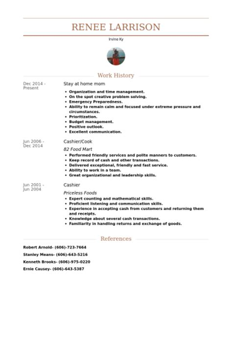 Resume Objective Exles Stay At Home by M 232 Re Au Foyer Exemple De Cv Base De Donn 233 Es Des Cv De Visualcv