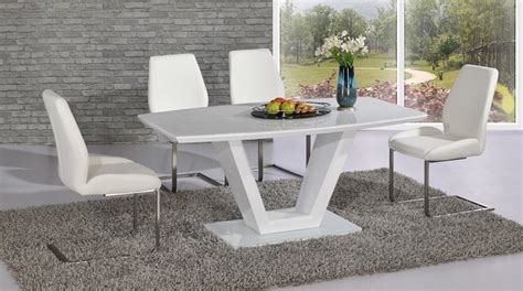 glass table six chairs modern white high gloss glass dining table and 6 chairs