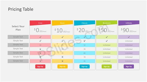 powerpoint table template pricing table powerpoint template