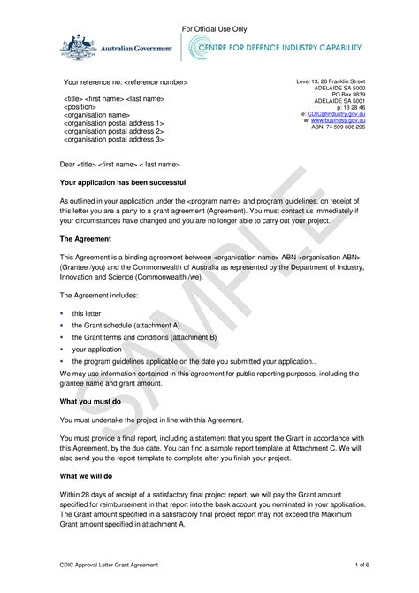 grant application approval letter templates