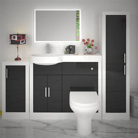 Buy Bathroom Furniture by Apollo Bathroom Fitted Furniture Set Black Buy At