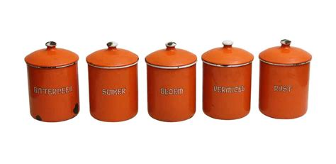 Kitchen Canisters Metal by Set Of Five Orange Kitchen Metal Canisters Olde Things