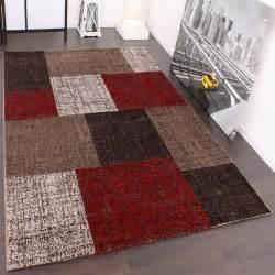 teppich designer designer teppich muster karo creme rot braun meliert wohn und schlafbereich designer teppiche