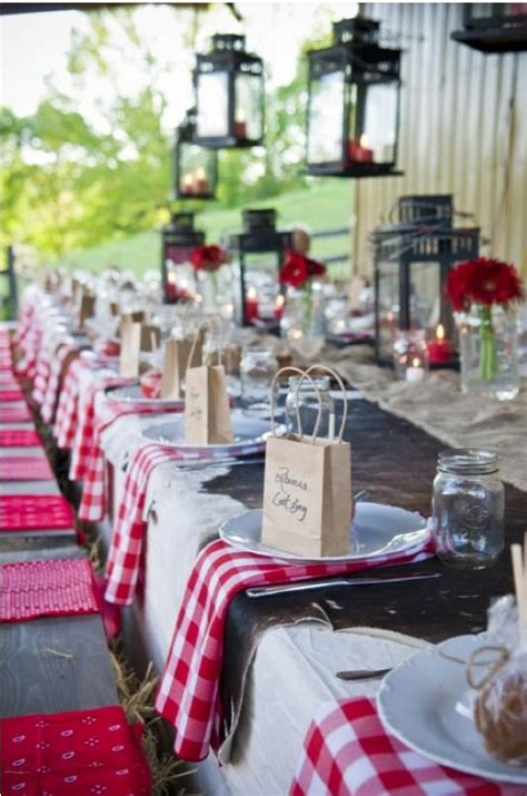country outdoor red wedding table ideas fab mood