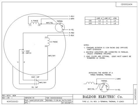 Baldor 5 Hp Capacitor Wiring by Baldor 5hp Single Phase Motor Wiring Diagram Impremedia Net