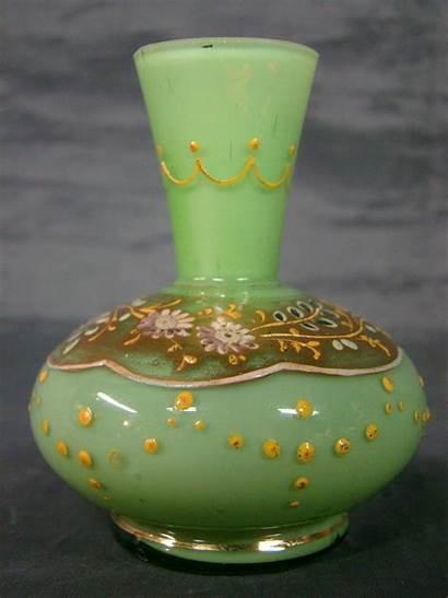 Glass Moser Miniature Enameled Floral Vase Gold