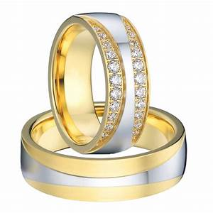 luxury 18k gold plated titanium jewelry engagement wedding With wedding rings man and woman set