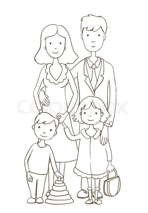 cute cartoon happy family  white stock vector