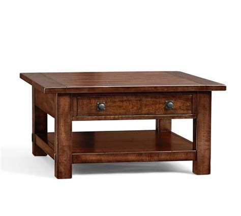benchwright square coffee table rustic mahogany pottery