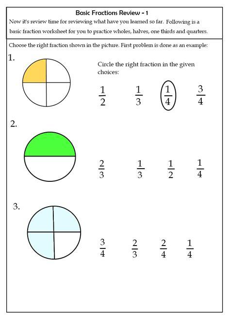 Math Fraction Worksheets For Kids  Learning Printable