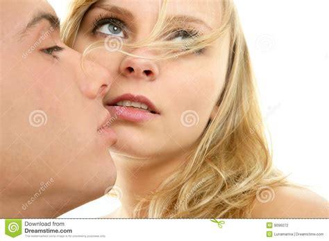 Couple Natural Kiss Closeup Portrait Stock Photography