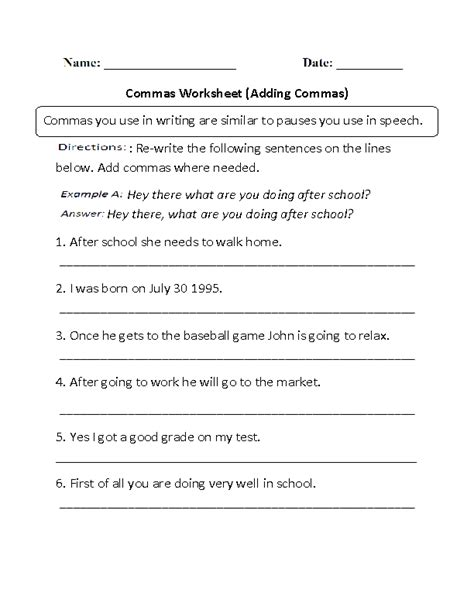 commas worksheets adding commas worksheets part