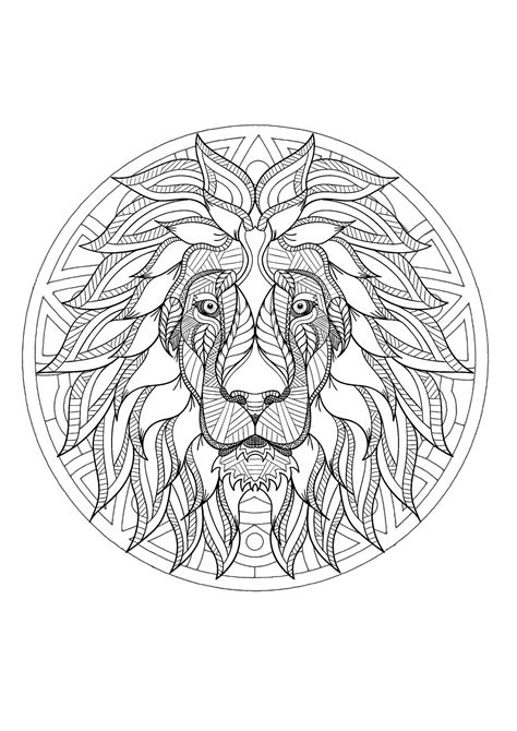 complex mandala coloring page  majestic lion head  difficult mandalas  adults