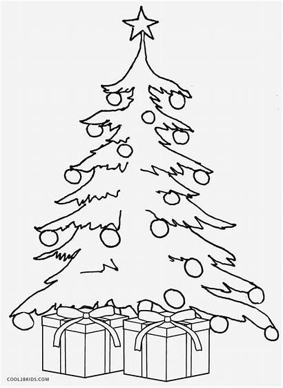 Tree Christmas Coloring Pages Outline Printable Drawing