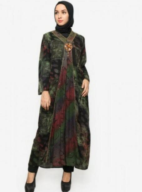 model baju batik dress panjang terkini  model