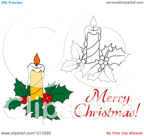 Merry Clipart - clipart of a merry greeting with a candle and