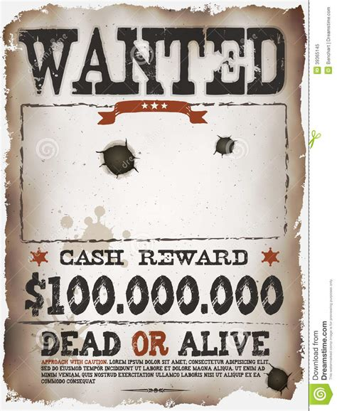 wanted dead or alive poster template free wanted vintage western poster stock vector illustration 39365145