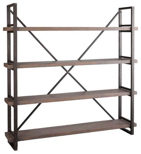 iron and wood bookcase wood and iron x back bookcase eclectic bookcases by