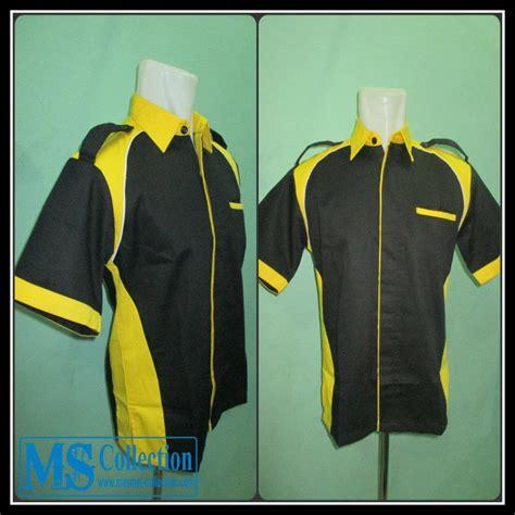 baju kemeja terusan gaun jual seragam kerja kuning hitam srg04 harga murah