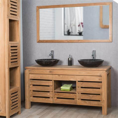 meuble sous vasque vasque en bois teck massif zen rectangle naturel l 145 cm