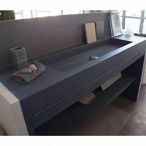 meuble salle de bains beton cire 160x50 unnik beton With meuble en beton cire