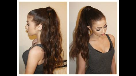 hair tutorial perfect pony  ariana grande inspired hair  hair extensions youtube