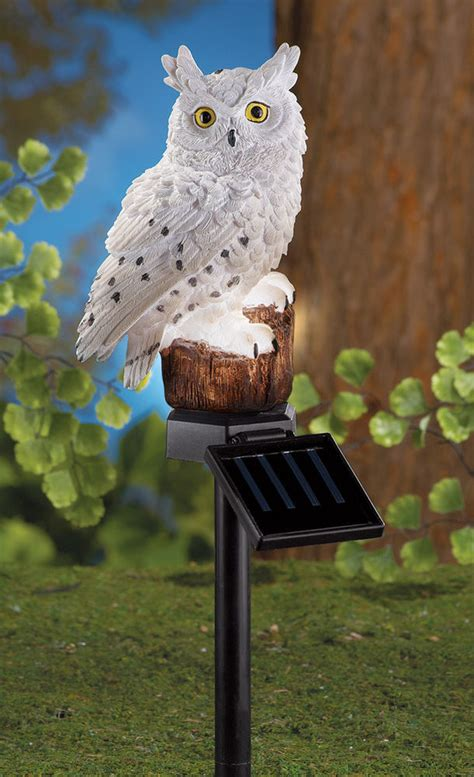 unique solar powered white owl garden stake yard decor new