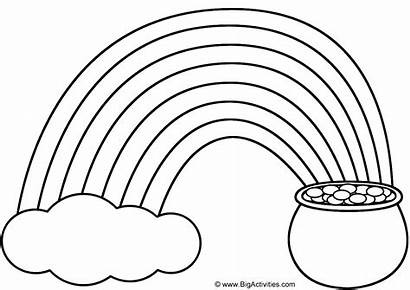 Rainbow Template Pot Gold Coloring Pages Printable