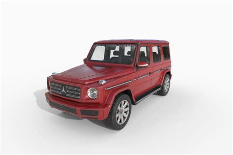 The assistance by eq boost creates the prerequisites for additional functions that help to attention, sun worshippers: Low Poly Car - Mercedes Benz G-Class 2019 Red 3D asset