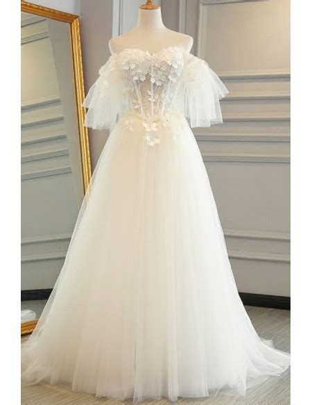 fairy flowers puffy  shoulder sleeves tulle wedding dress  lace   gemgracecom
