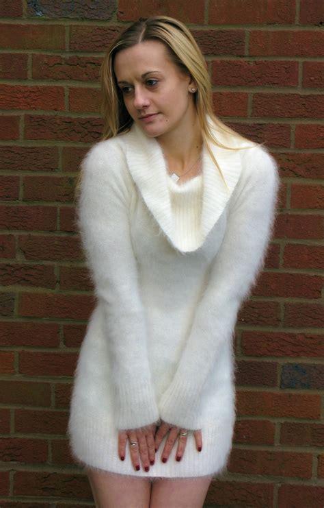 white angora fuzzy sweater dress angora pinterest