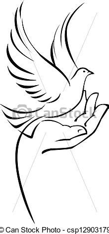 Dove on hand. Vector illustration of dove on hand.