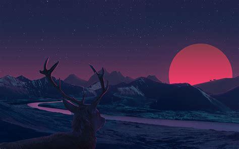 Anime Wallpaper 1440x900 - deer staring at sunset anime hd 2k wallpaper