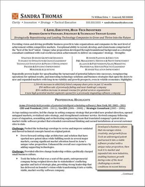 c level executive resume sles c level high tech industry executive resume exle