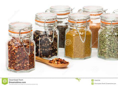 wooden canisters kitchen glass spice jars royalty free stock images image 10563789