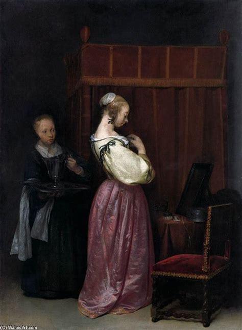 femme 224 sa toilette avec un m 233 nage huile de gerard ter borch 1617 1681 netherlands