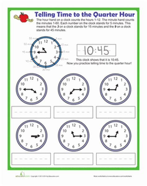 telling time to the quarter hour worksheet education