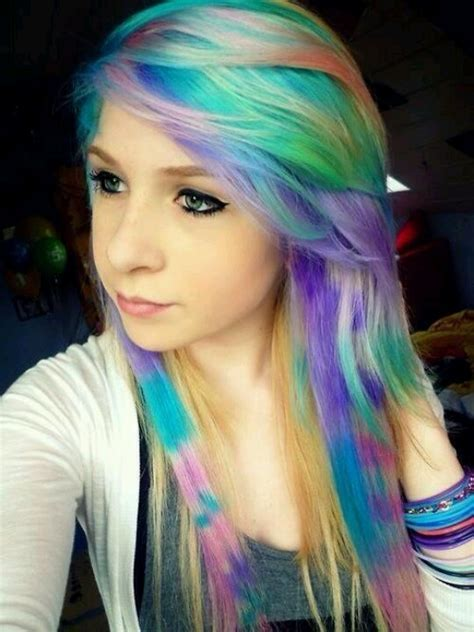 Rainbow Hair And Colored Coontails Hair Pinterest