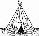 Teepee Tent Drawing Vector Illustration Drawings Getdrawings sketch template