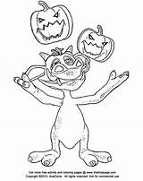 Coloring Juggling Colouring Cartoon Sheets Jackolanterns Monster Printable Adult Thekidzpage sketch template