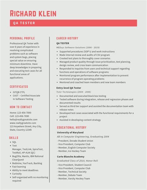 qa tester resume samples templates pdfword  qa